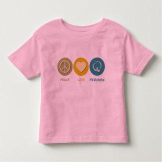 Perforaciones del amor de la paz camisetas