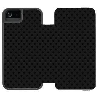 Perforado negro funda billetera para iPhone 5 watson