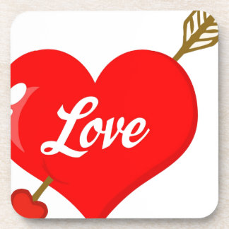 Perforated Heart With Arrow And Text Beverage Coaster