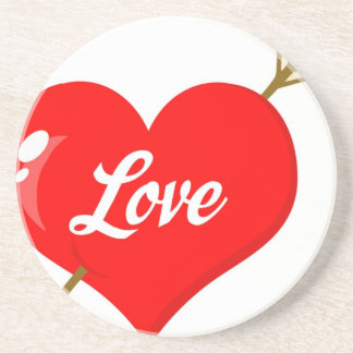 Perforated Heart With Arrow And Text Coaster