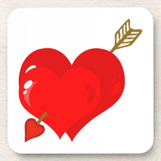 Perforated Two Heart With Arrow Drink Coaster