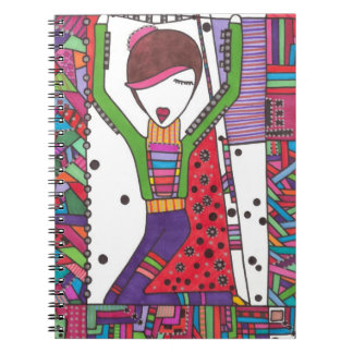 performance art girl on notebook