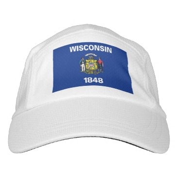 Performance Hat with flag of Wisconsin, USA