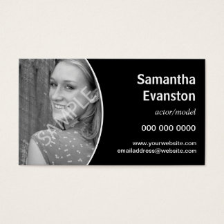 Performers Headshot Curved Black Business Card