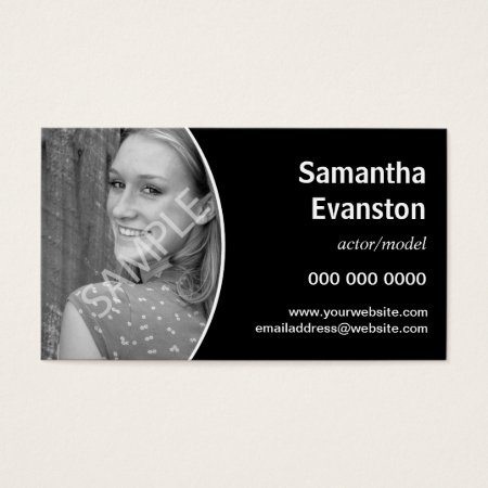 Headshot Curved Black Photo Business Card Template