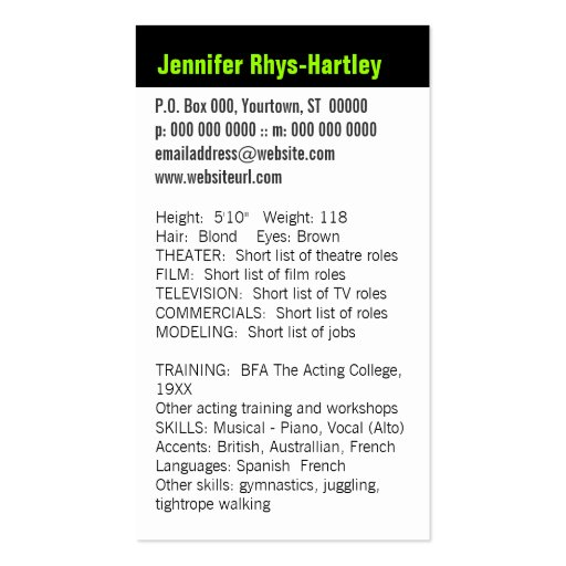 performers vertical resume and headshot business card