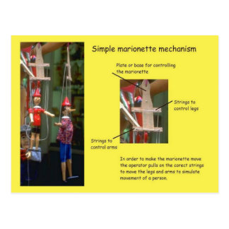 Performing arts, Simple marionette mechanisms Postcard