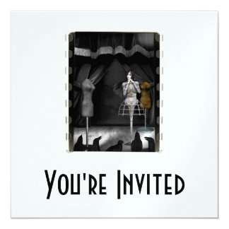 Performing For The Birds - Biomechannequin 3 Color 5.25x5.25 Square Paper Invitation Card