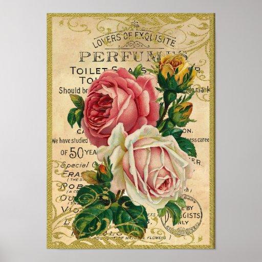 Perfume antiguo de los rosas póster