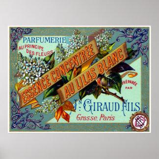 Perfume blanco francés de la lila 1915 póster