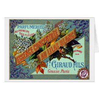 Perfume blanco francés de la lila 1915 tarjeta de felicitación