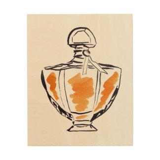 Perfume bottle fashion watercolour illustration wood wall art