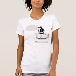 Perfume Bottle on White T-Shirt