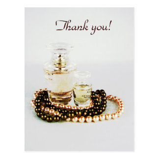 Perfume bottles with pearl necklace glamor postcard