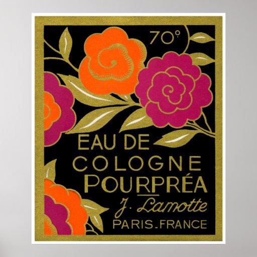 Perfume de agua de colonia Pourprea de 1920 france Póster