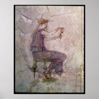 Perfume de colada de la mujer en una redoma póster