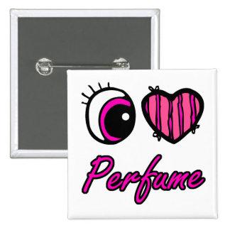 Perfume del amor del corazón I del ojo de Emo Pin Cuadrado