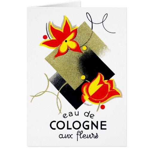 Perfume floral francés 1920 felicitación