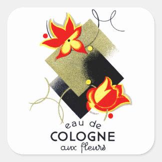 Perfume floral francés 1920 pegatina cuadrada