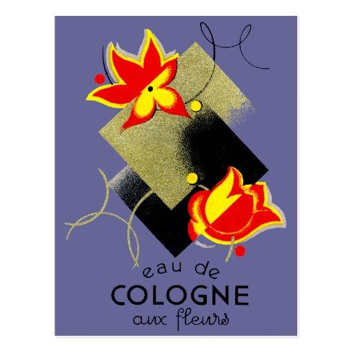 Perfume floral francés 1920 postal
