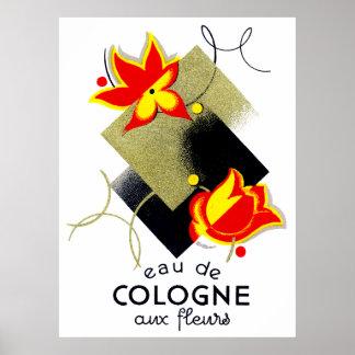 Perfume floral francés 1920 poster