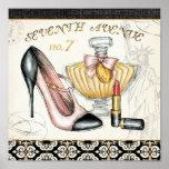 Perfume, lápiz labial rojo, y un zapato de tacón a posters