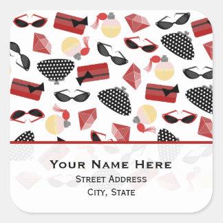 Perfume Purses Rubies & Sunglasses Address Sticker