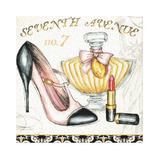 Perfume Red Lipstick and a High Heeled Shoe Canvas Print