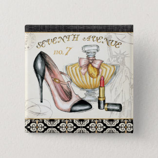 Perfume, Red Lipstick, and a High Heeled Shoe Pinback Button
