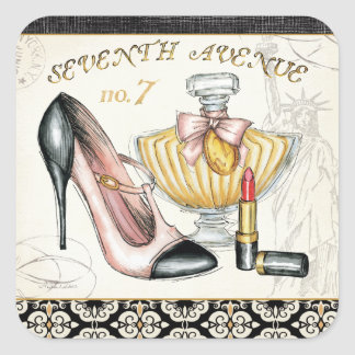 Perfume, Red Lipstick, and a High Heeled Shoe Square Sticker