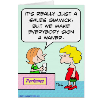 perfume sign waiver sales gimmick card