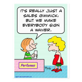 perfume sign waiver sales gimmick postcard