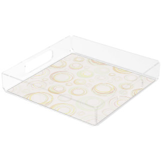 Perfume Tray, Circle Design in Pastel Colors Square Serving Trays
