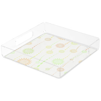 Perfume Tray, Floral Design in Pastel Colors Square Serving Trays