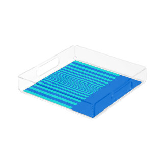 Perfume Tray in Summer Blue&Green Stripes Design Square Serving Trays