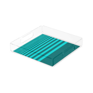 Perfume Tray in Summer Blue Green Stripes Design Square Serving Trays