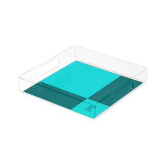 Perfume Tray in Summer Blue Green Tiles Design Square Serving Trays