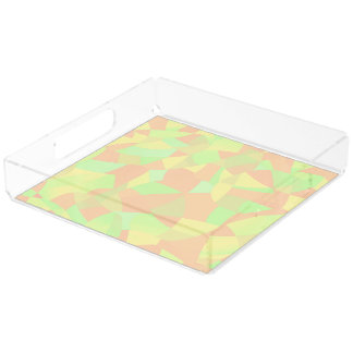 Perfume Tray, Mosaic Design in Pastel Colors Square Serving Trays