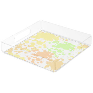 Perfume Tray, Splash Design in Pastel Colors Square Serving Trays