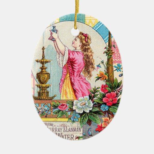 Perfumes del agua de la Florida Adorno Navideño Ovalado De Cerámica