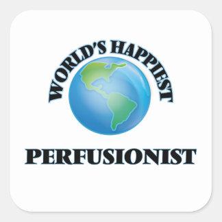 Perfusionist más feliz del mundo pegatina cuadrada