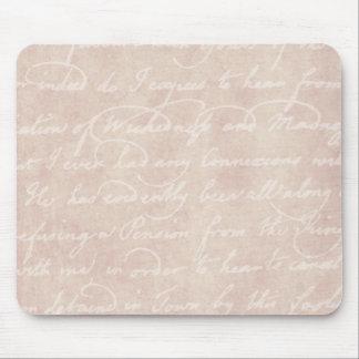 Pergamino antiguo de papel de la escritura de la e alfombrillas de ratones