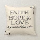 Pergamino de la fe, de la esperanza y del amor almohadas
