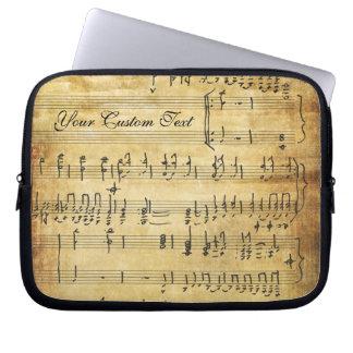 Pergamino del Grunge del vintage de las notas musi Fundas Ordendadores