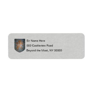 Pergamino del león del escudo del metal falso etiqueta de remitente