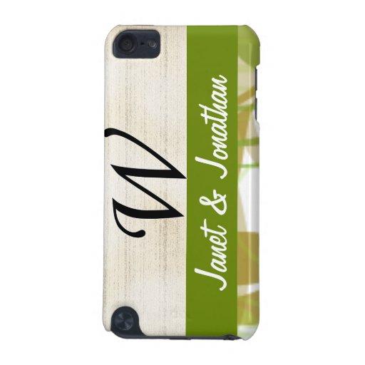 Pergamino del monograma de W y floral verde y beig Funda Para iPod Touch 5G