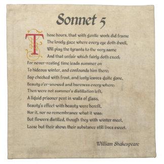 Pergamino del soneto 5 de Shakespeare Servilletas De Papel