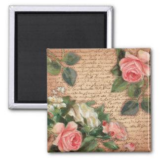 Pergamino del vintage y rosas elegantes lamentable imán cuadrado
