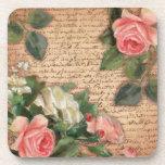 Pergamino del vintage y rosas elegantes lamentable posavaso