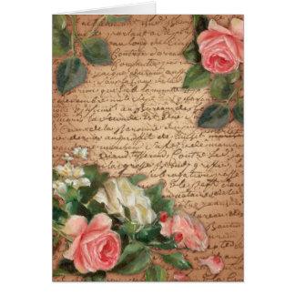 Pergamino del vintage y rosas elegantes lamentable tarjeta pequeña